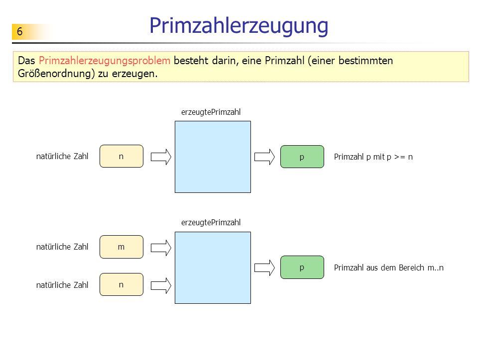 6 Primzahlerzeugung Primzahl p mit p >= n p erzeugtePrimzahl n natürliche Zahl Das Primzahlerzeugungsproblem besteht darin, eine Primzahl (einer besti