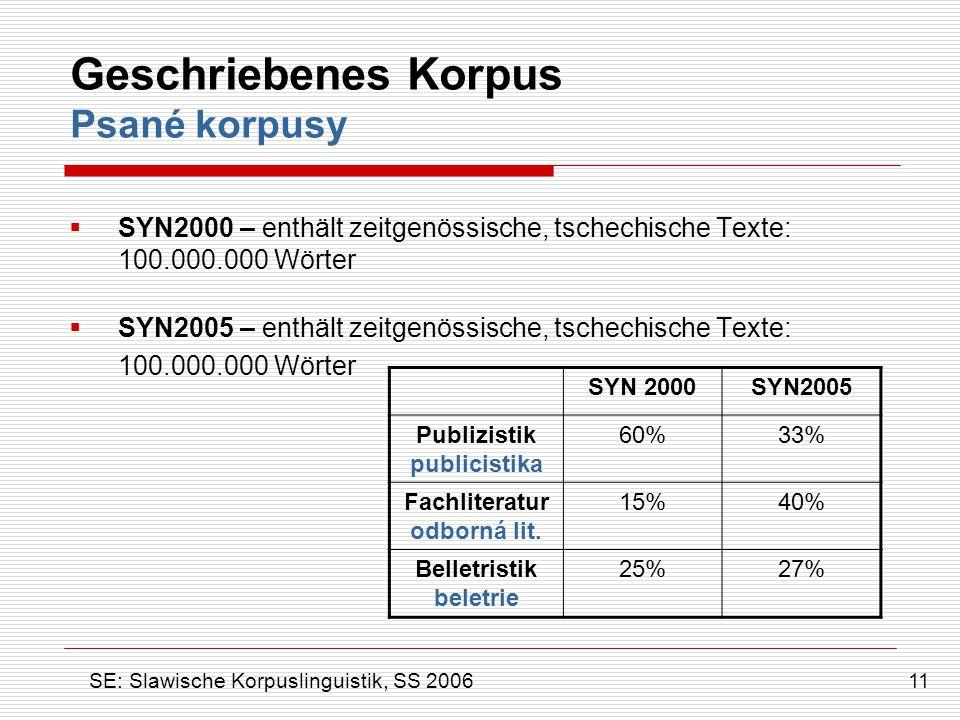 Geschriebenes Korpus Psané korpusy  SYN2000 – enthält zeitgenössische, tschechische Texte: 100.000.000 Wörter  SYN2005 – enthält zeitgenössische, ts