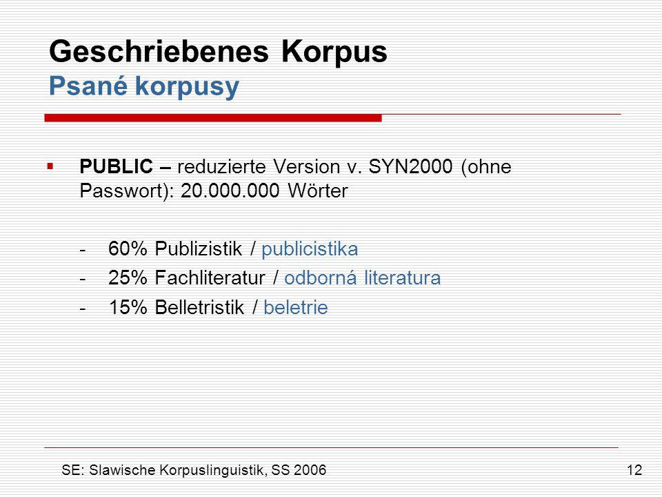 Geschriebenes Korpus Psané korpusy  PUBLIC – reduzierte Version v. SYN2000 (ohne Passwort): 20.000.000 Wörter - 60% Publizistik / publicistika - 25%
