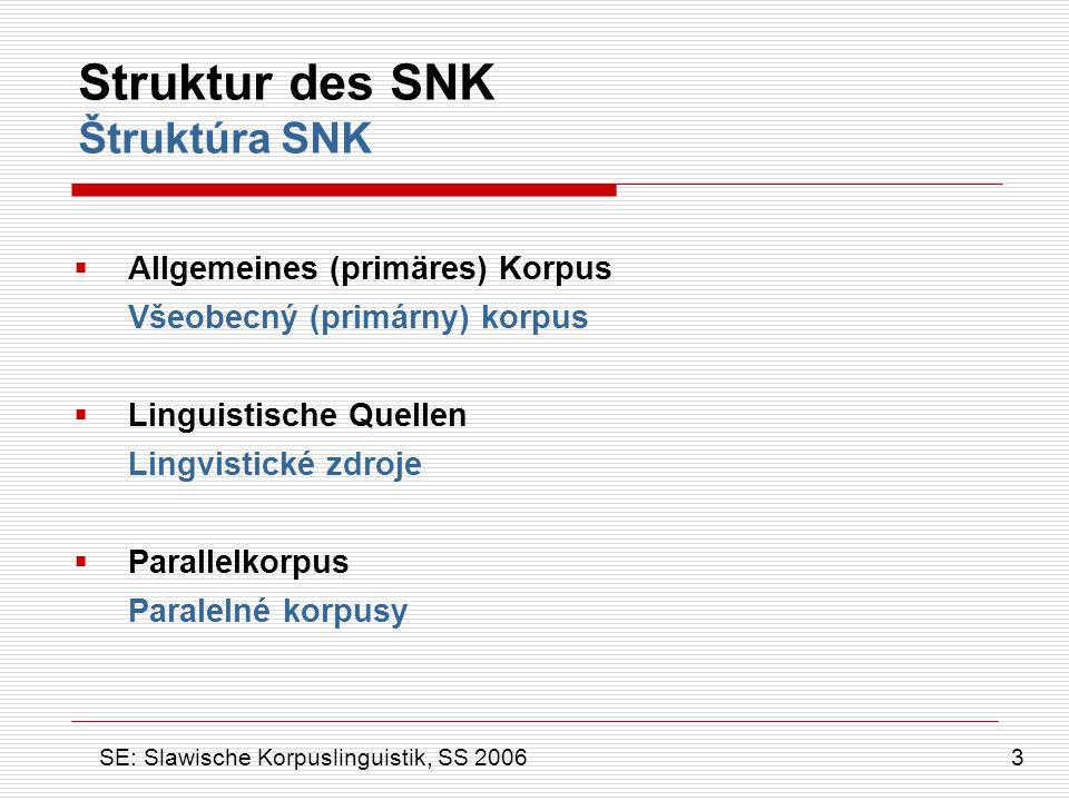 Struktur des SNK Štruktúra SNK  Allgemeines (primäres) Korpus Všeobecný (primárny) korpus  Linguistische Quellen Lingvistické zdroje  Parallelkorpu
