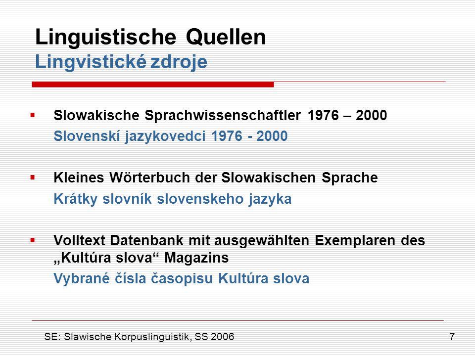 Linguistische Quellen Lingvistické zdroje  Slowakische Sprachwissenschaftler 1976 – 2000 Slovenskí jazykovedci 1976 - 2000  Kleines Wörterbuch der S
