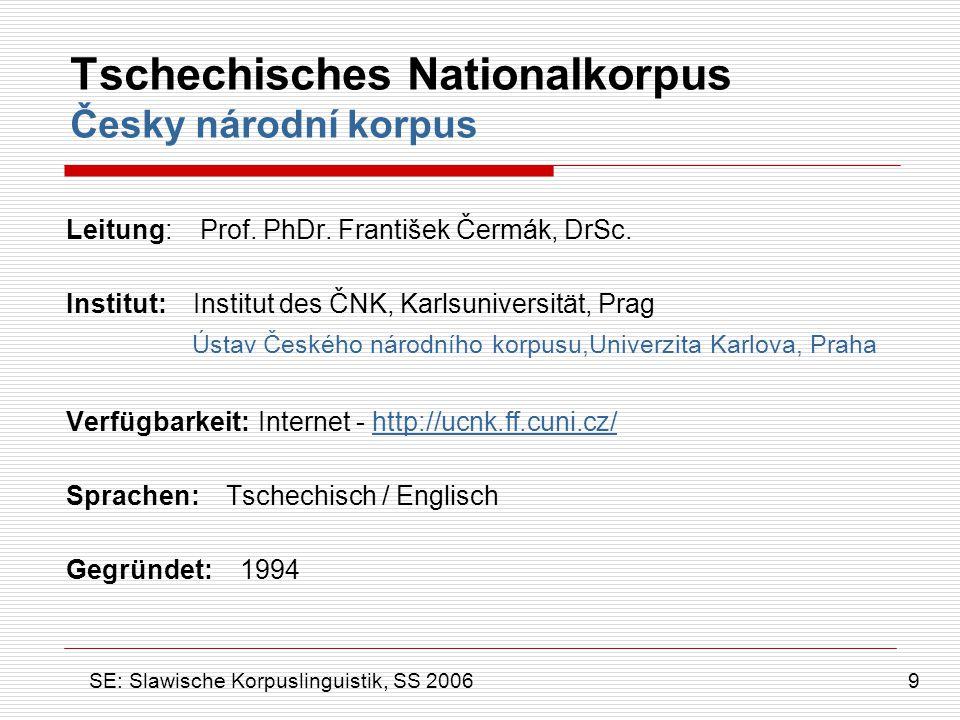 Tschechisches Nationalkorpus Česky národní korpus Leitung: Prof. PhDr. František Čermák, DrSc. Institut: Institut des ČNK, Karlsuniversität, Prag Ústa