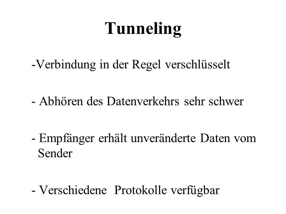 Tunneling -Verbindung in der Regel verschlüsselt - Abhören des Datenverkehrs sehr schwer - Empfänger erhält unveränderte Daten vom Sender - Verschiedene Protokolle verfügbar
