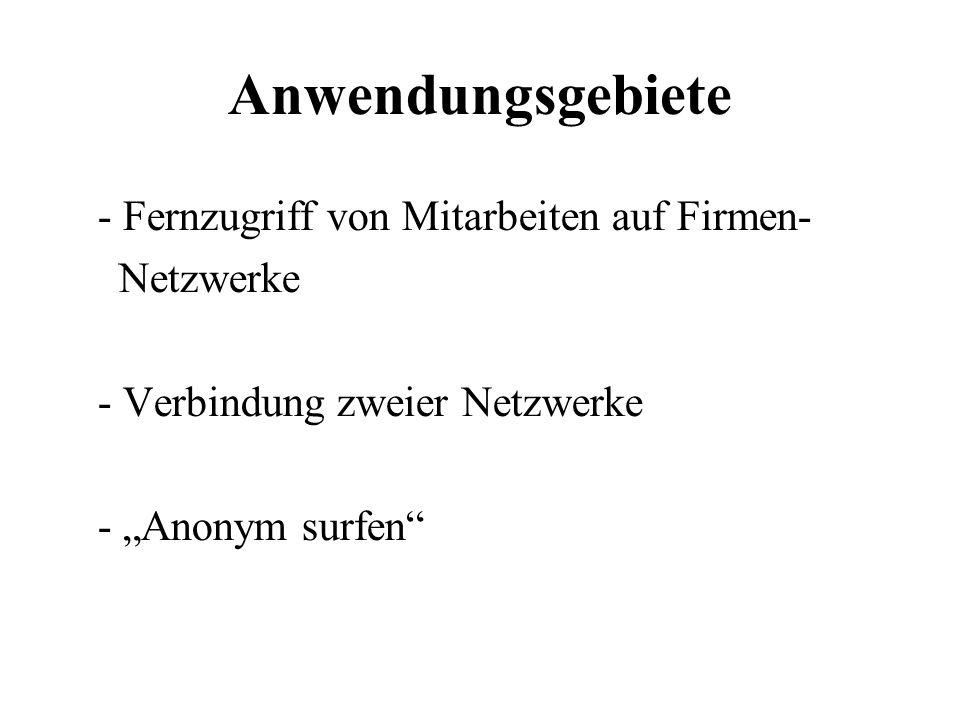 """Anwendungsgebiete - Fernzugriff von Mitarbeiten auf Firmen- Netzwerke - Verbindung zweier Netzwerke - """"Anonym surfen"""