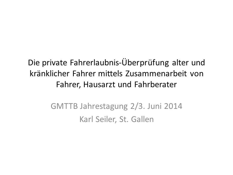 Die obligatorische medizinische Fahreignungskontrolle ab 70 Ziel: Verbesserung Sicherheit auf Strasse 1977 in der Schweiz eingeführt Massnahme von Bevölkerung akzeptiert Bei Fahreignung erteilt Behörde weitere Fahrerlaubnis