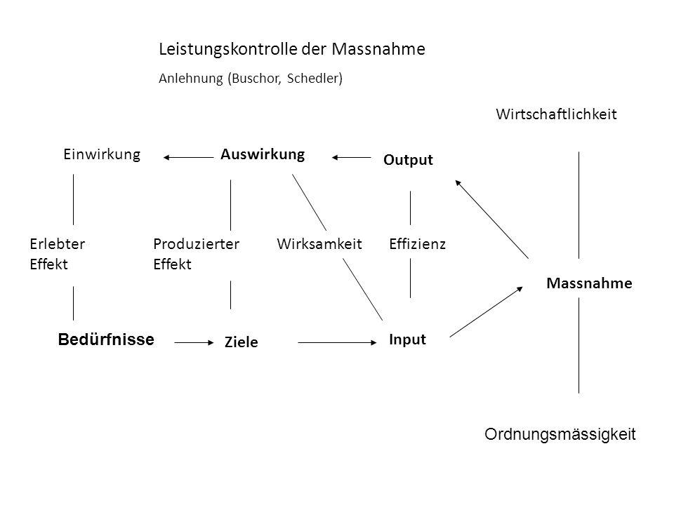 Bedürfnisse Input Massnahme Output AuswirkungEinwirkung Ordnungsmässigkeit Wirtschaftlichkeit Leistungskontrolle der Massnahme Anlehnung (Buschor, Sch