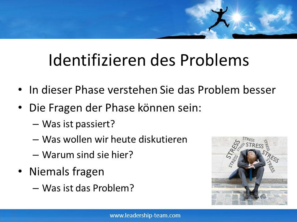 www.leadership-team.com Identifizieren des Problems In dieser Phase verstehen Sie das Problem besser Die Fragen der Phase können sein: – Was ist passi