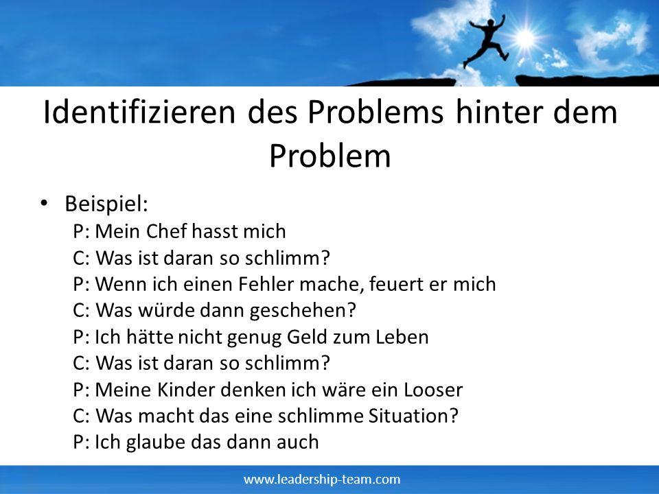 www.leadership-team.com Identifizieren des Problems hinter dem Problem Beispiel: P: Mein Chef hasst mich C: Was ist daran so schlimm? P: Wenn ich eine