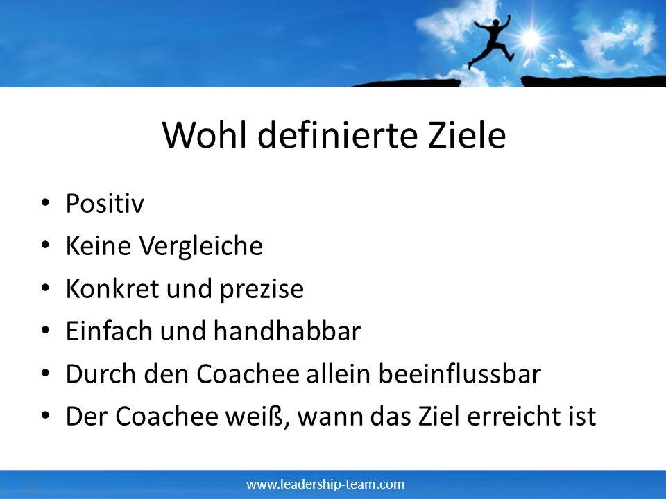 www.leadership-team.com Wohl definierte Ziele Positiv Keine Vergleiche Konkret und prezise Einfach und handhabbar Durch den Coachee allein beeinflussb