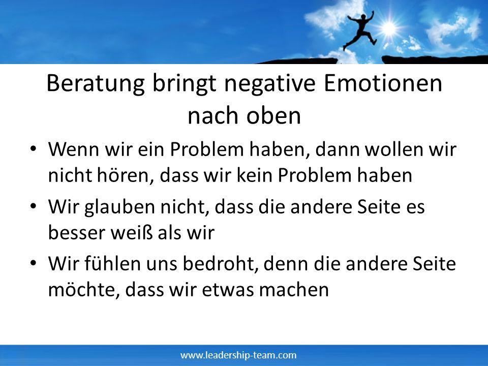 www.leadership-team.com Beratung bringt negative Emotionen nach oben Wenn wir ein Problem haben, dann wollen wir nicht hören, dass wir kein Problem ha