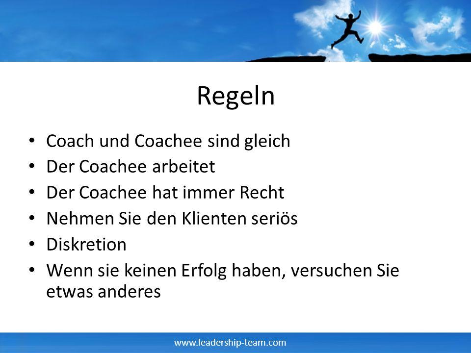 www.leadership-team.com Regeln Coach und Coachee sind gleich Der Coachee arbeitet Der Coachee hat immer Recht Nehmen Sie den Klienten seriös Diskretio