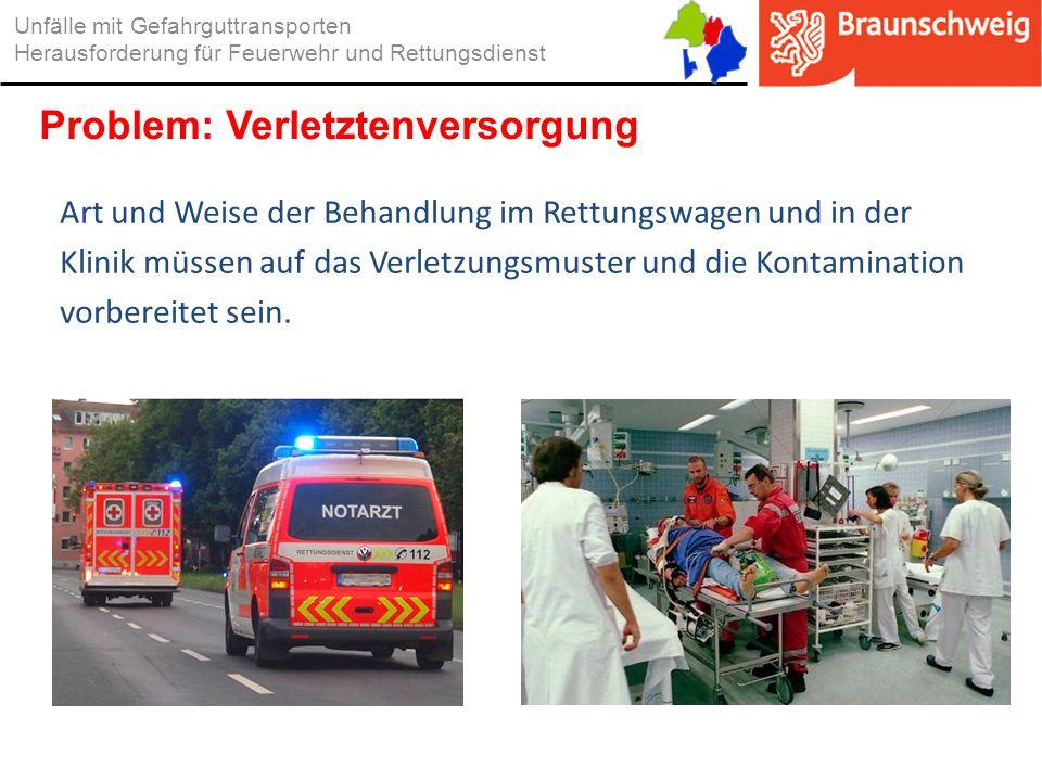 Art und Weise der Behandlung im Rettungswagen und in der Klinik müssen auf das Verletzungsmuster und die Kontamination vorbereitet sein. Unfälle mit G