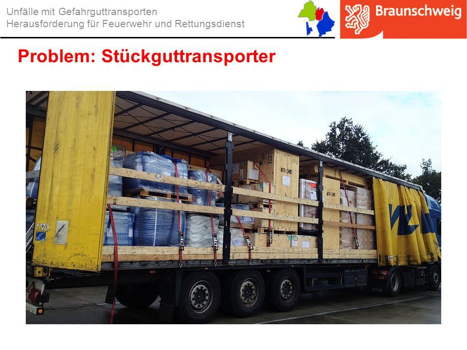 Unfälle mit Gefahrguttransporten Herausforderung für Feuerwehr und Rettungsdienst Problem: Stückguttransporter