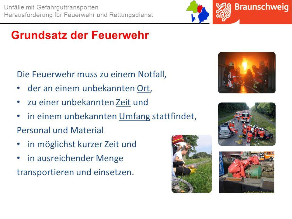 Die Feuerwehr muss zu einem Notfall, der an einem unbekannten Ort, zu einer unbekannten Zeit und in einem unbekannten Umfang stattfindet, Personal und
