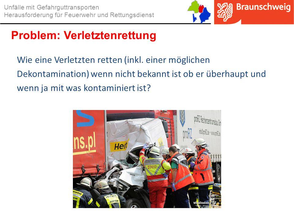 Wie eine Verletzten retten (inkl. einer möglichen Dekontamination) wenn nicht bekannt ist ob er überhaupt und wenn ja mit was kontaminiert ist? Unfäll
