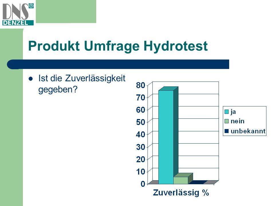 Produkt Umfrage Hydrotest Ist die Zuverlässigkeit gegeben?