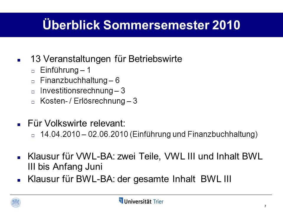 7 Überblick Sommersemester 2010 13 Veranstaltungen für Betriebswirte  Einführung – 1  Finanzbuchhaltung – 6  Investitionsrechnung – 3  Kosten- / E