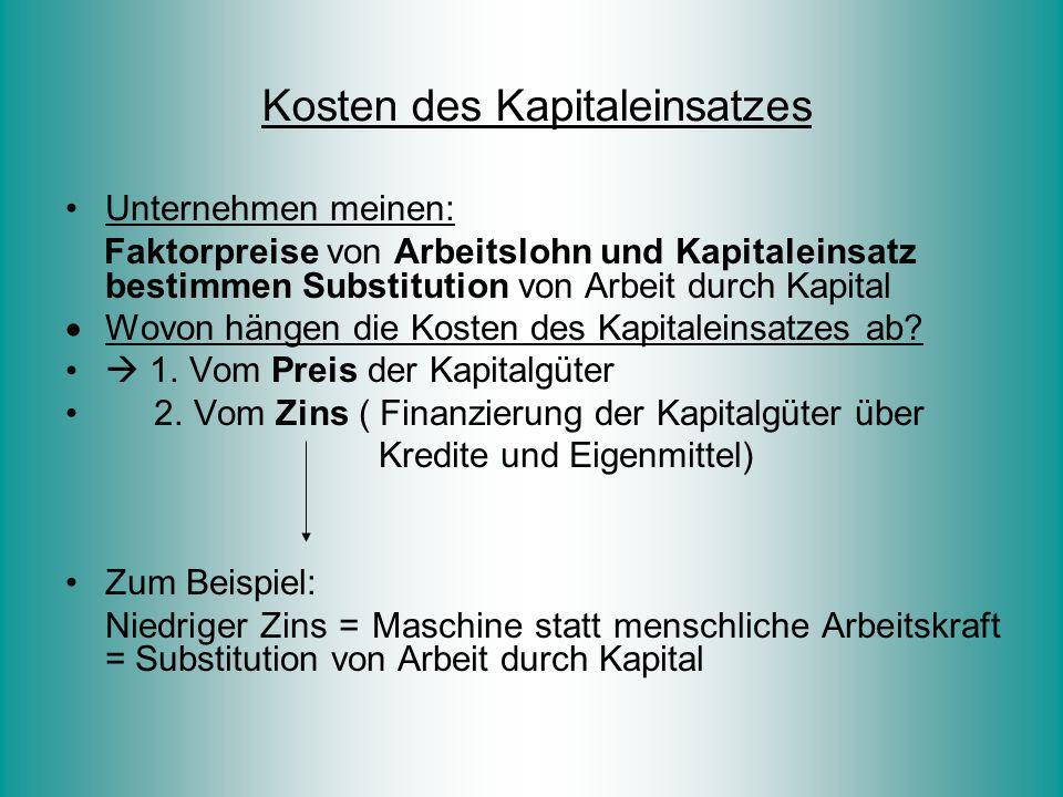 Unternehmen meinen: Faktorpreise von Arbeitslohn und Kapitaleinsatz bestimmen Substitution von Arbeit durch Kapital  Wovon hängen die Kosten des Kapi