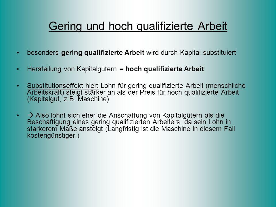 Gering und hoch qualifizierte Arbeit besonders gering qualifizierte Arbeit wird durch Kapital substituiert Herstellung von Kapitalgütern = hoch qualif