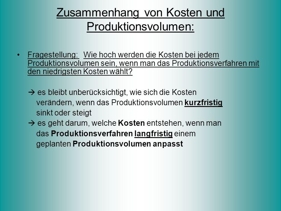 Zusammenhang von Kosten und Produktionsvolumen: Fragestellung: Wie hoch werden die Kosten bei jedem Produktionsvolumen sein, wenn man das Produktionsv