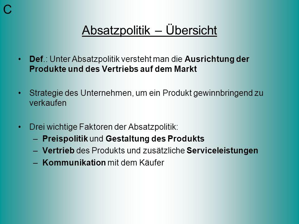 Absatzpolitik – Übersicht Def.: Unter Absatzpolitik versteht man die Ausrichtung der Produkte und des Vertriebs auf dem Markt Strategie des Unternehme