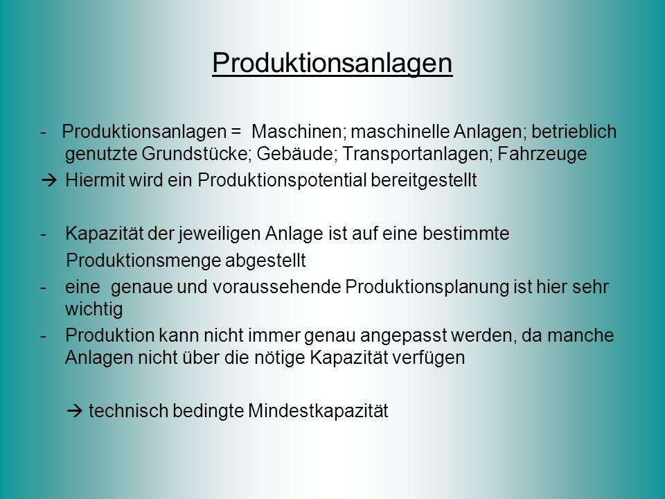 Produktionsanlagen - Produktionsanlagen = Maschinen; maschinelle Anlagen; betrieblich genutzte Grundstücke; Gebäude; Transportanlagen; Fahrzeuge  Hie