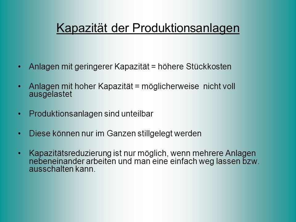 Kapazität der Produktionsanlagen Anlagen mit geringerer Kapazität = höhere Stückkosten Anlagen mit hoher Kapazität = möglicherweise nicht voll ausgela