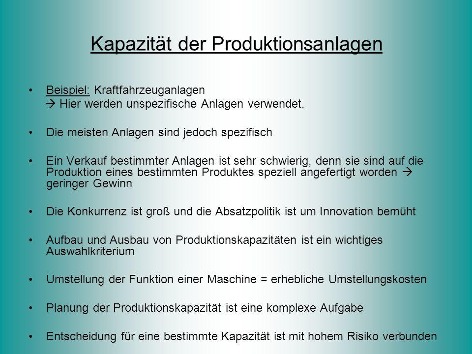 Kapazität der Produktionsanlagen Beispiel: Kraftfahrzeuganlagen  Hier werden unspezifische Anlagen verwendet. Die meisten Anlagen sind jedoch spezifi