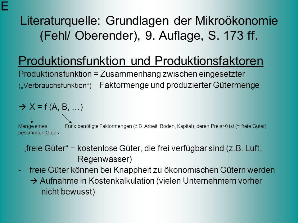Literaturquelle: Grundlagen der Mikroökonomie (Fehl/ Oberender), 9. Auflage, S. 173 ff. Produktionsfunktion und Produktionsfaktoren Produktionsfunktio