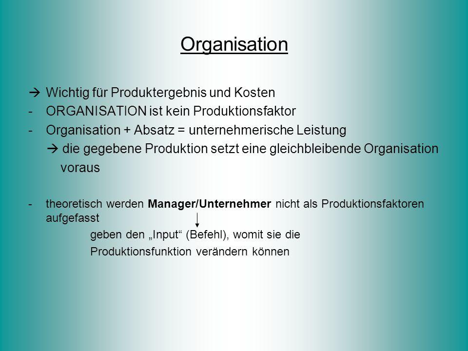 Organisation  Wichtig für Produktergebnis und Kosten -ORGANISATION ist kein Produktionsfaktor -Organisation + Absatz = unternehmerische Leistung  di
