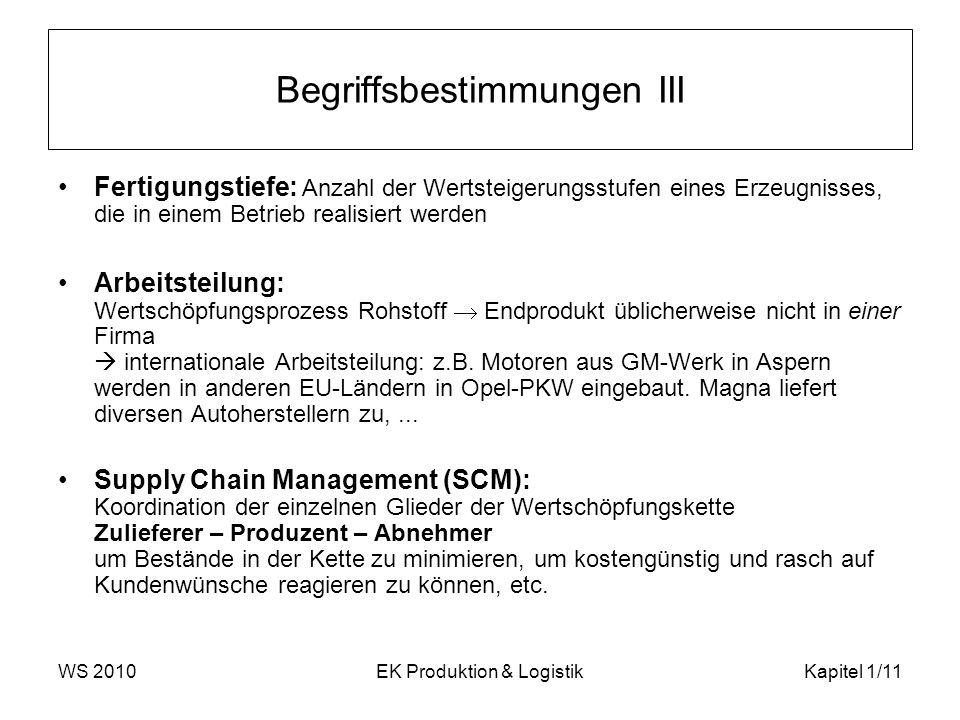 WS 2010EK Produktion & LogistikKapitel 1/11 Begriffsbestimmungen III Fertigungstiefe: Anzahl der Wertsteigerungsstufen eines Erzeugnisses, die in eine