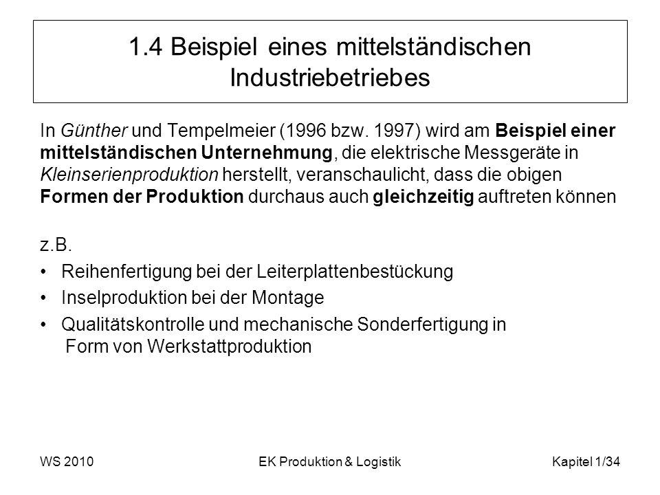 WS 2010EK Produktion & LogistikKapitel 1/34 1.4 Beispiel eines mittelständischen Industriebetriebes In Günther und Tempelmeier (1996 bzw. 1997) wird a