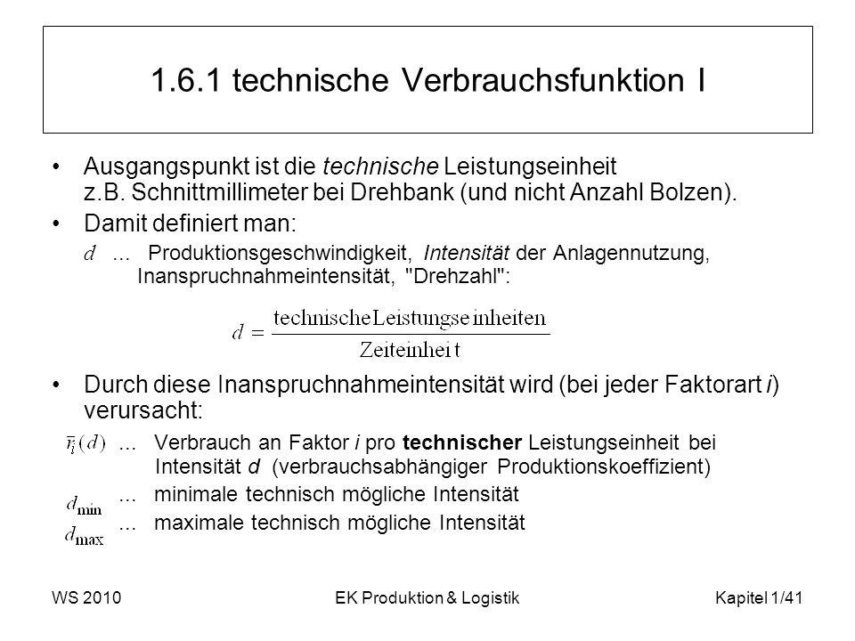 WS 2010EK Produktion & LogistikKapitel 1/41 1.6.1 technische Verbrauchsfunktion I Ausgangspunkt ist die technische Leistungseinheit z.B. Schnittmillim