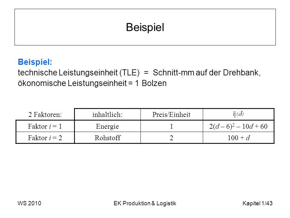 WS 2010EK Produktion & LogistikKapitel 1/43 Beispiel Beispiel: technische Leistungseinheit (TLE) = Schnitt-mm auf der Drehbank, ökonomische Leistungse