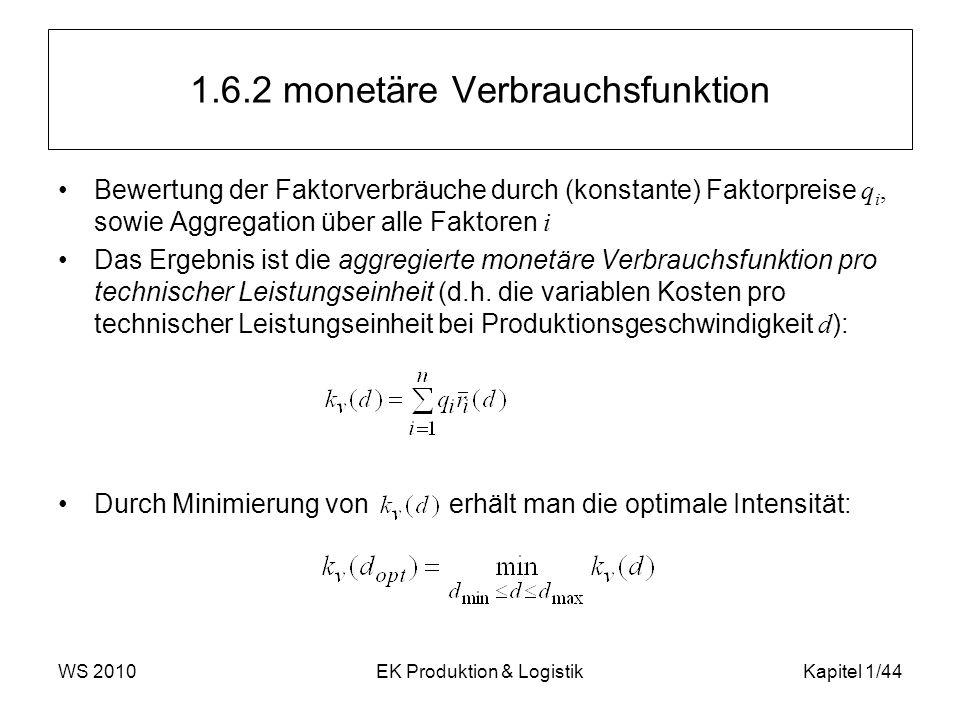 WS 2010EK Produktion & LogistikKapitel 1/44 1.6.2 monetäre Verbrauchsfunktion Bewertung der Faktorverbräuche durch (konstante) Faktorpreise q i, sowie