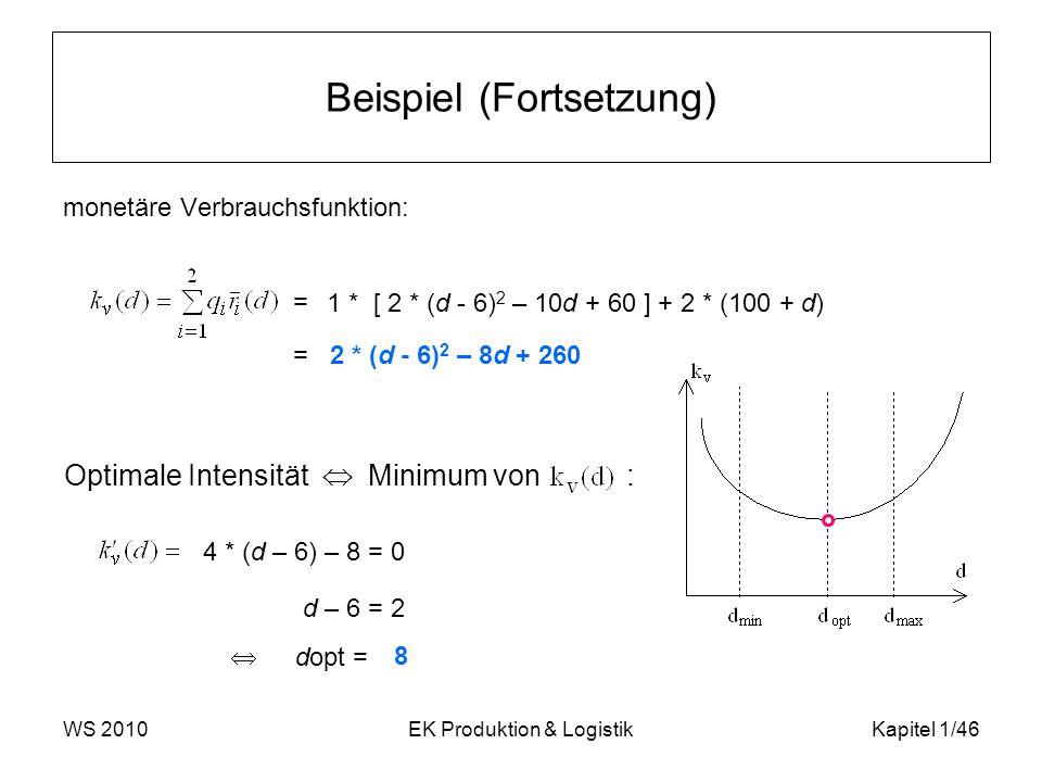 WS 2010EK Produktion & LogistikKapitel 1/46 Beispiel (Fortsetzung) monetäre Verbrauchsfunktion: Optimale Intensität  Minimum von : =  dopt = 1 * [ 2