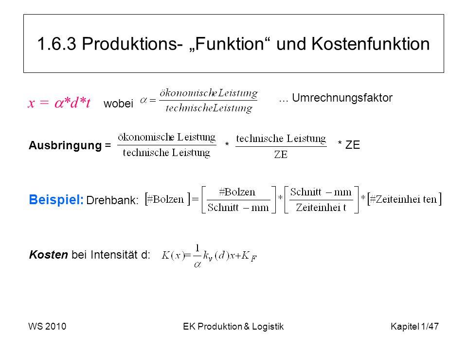 """WS 2010EK Produktion & LogistikKapitel 1/47 1.6.3 Produktions- """"Funktion"""" und Kostenfunktion x =  *d*t wobei... Umrechnungsfaktor Ausbringung = * * Z"""