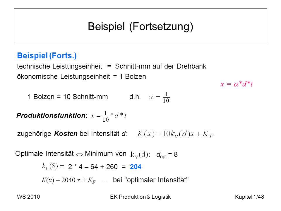 WS 2010EK Produktion & LogistikKapitel 1/48 Beispiel (Fortsetzung) Beispiel (Forts.) technische Leistungseinheit = Schnitt-mm auf der Drehbank ökonomi