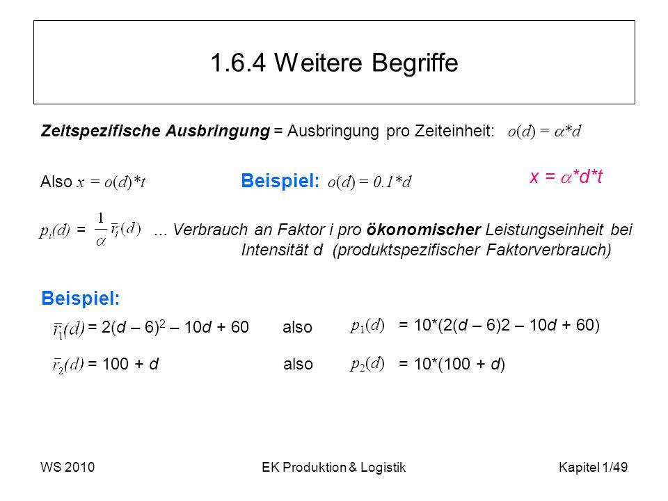 WS 2010EK Produktion & LogistikKapitel 1/49 1.6.4 Weitere Begriffe Zeitspezifische Ausbringung = Ausbringung pro Zeiteinheit: o(d) =  *d Also x = o(d