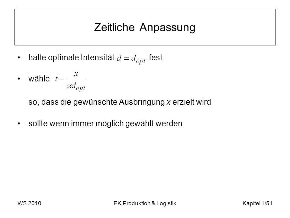 WS 2010EK Produktion & LogistikKapitel 1/51 Zeitliche Anpassung halte optimale Intensität fest wähle so, dass die gewünschte Ausbringung x erzielt wir