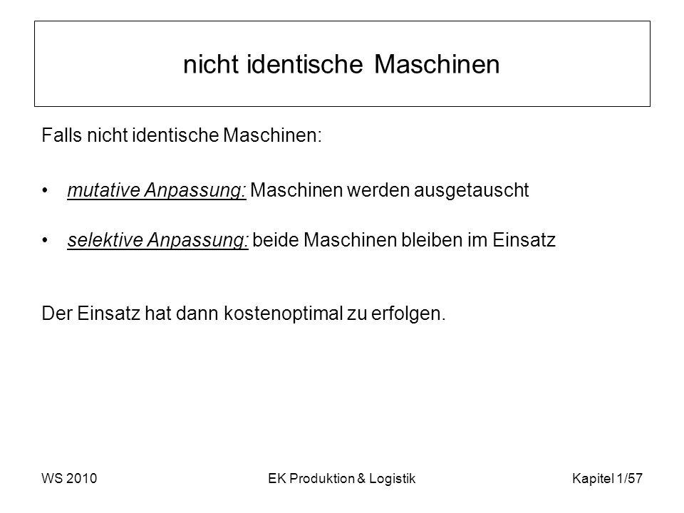WS 2010EK Produktion & LogistikKapitel 1/57 nicht identische Maschinen Falls nicht identische Maschinen: mutative Anpassung: Maschinen werden ausgetau