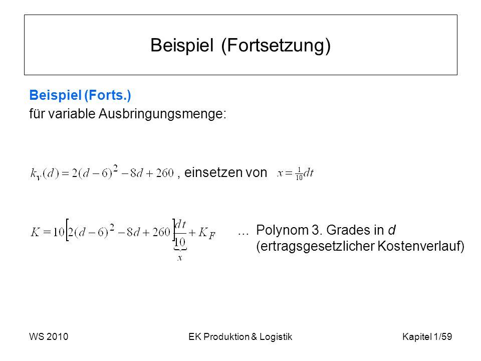 WS 2010EK Produktion & LogistikKapitel 1/59 Beispiel (Fortsetzung) Beispiel (Forts.) für variable Ausbringungsmenge:, einsetzen von... Polynom 3. Grad