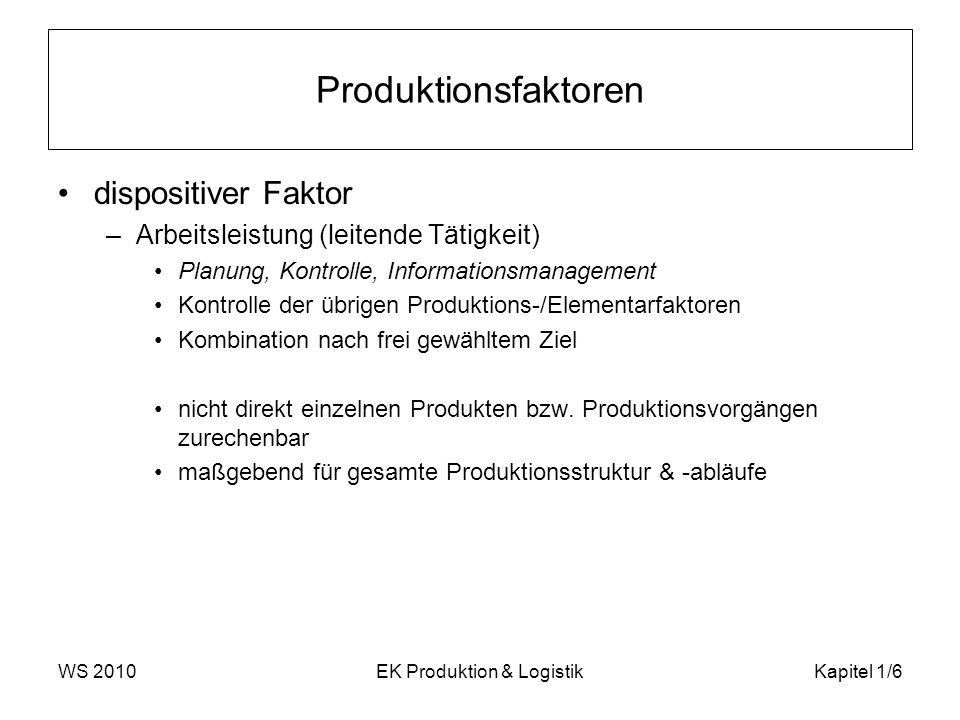 WS 2010EK Produktion & LogistikKapitel 1/6 Produktionsfaktoren dispositiver Faktor –Arbeitsleistung (leitende Tätigkeit) Planung, Kontrolle, Informati