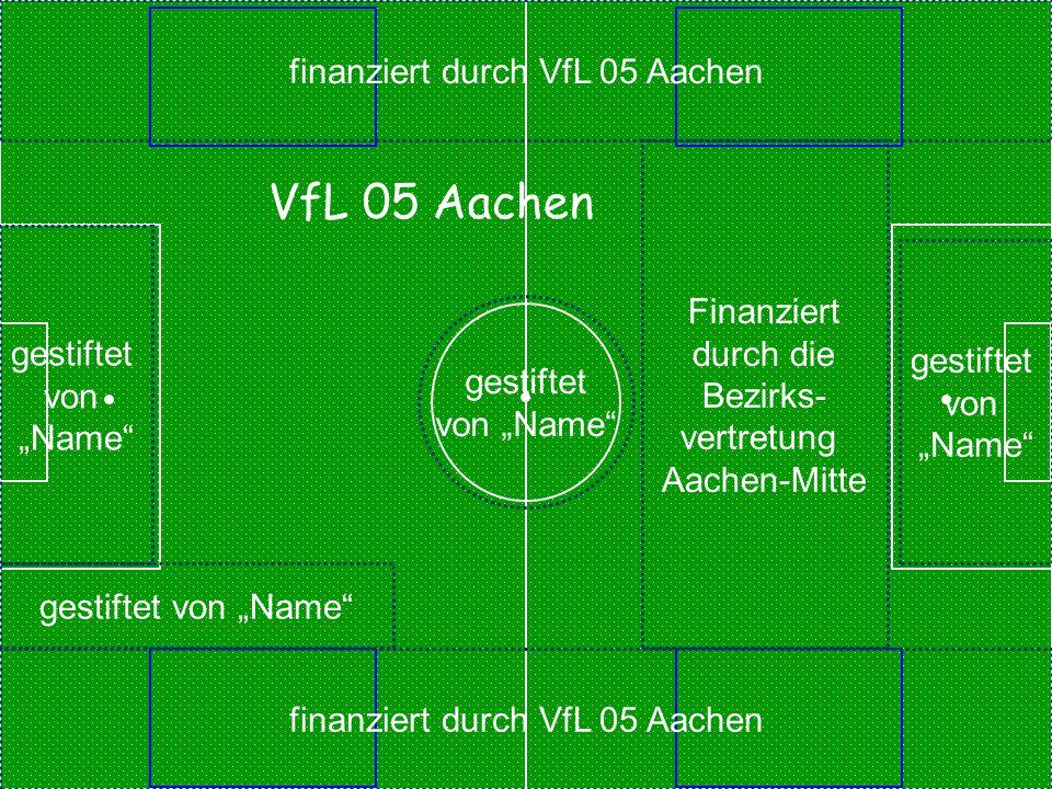 """finanziert durch VfL 05 Aachen gestiftet von """"Name"""" gestiftet von """"Name"""" gestiftet von """"Name"""" gestiftet von """"Name"""" Finanziert durch die Bezirks- vertr"""