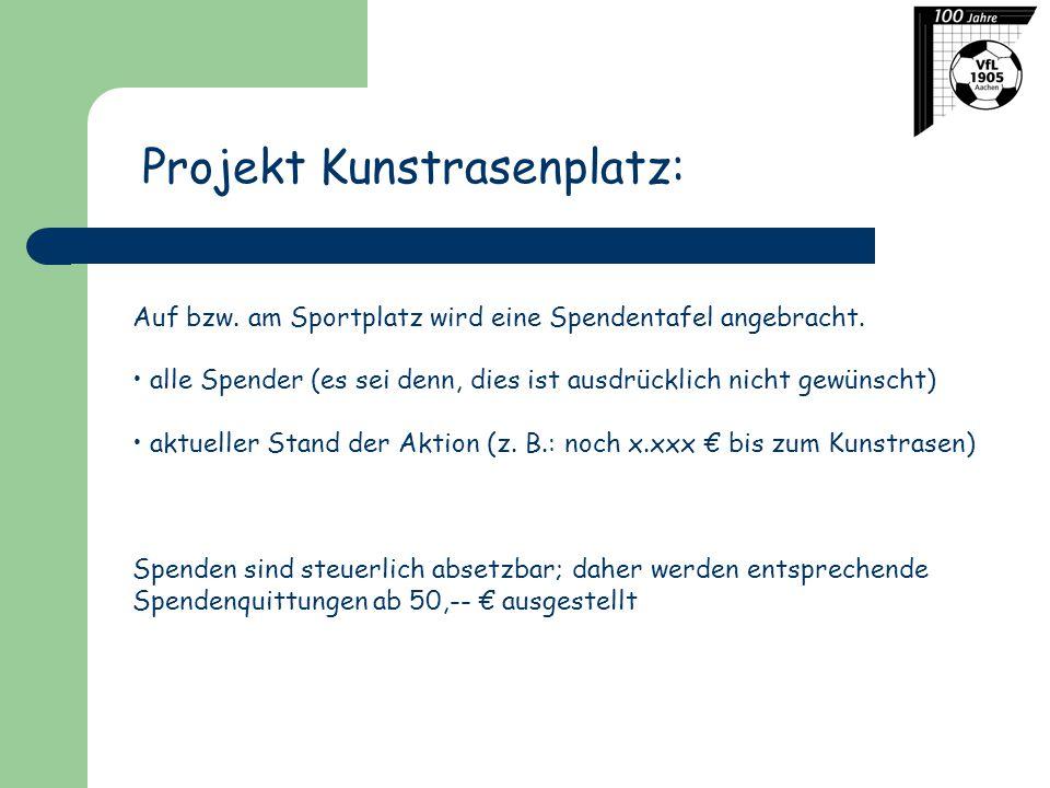 Projekt Kunstrasenplatz: Auf bzw. am Sportplatz wird eine Spendentafel angebracht. alle Spender (es sei denn, dies ist ausdrücklich nicht gewünscht) a