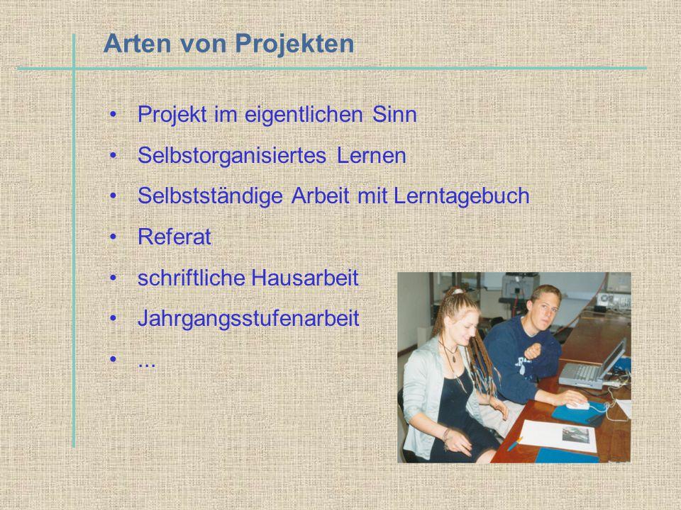 Arten von Projekten Projekt im eigentlichen Sinn Selbstorganisiertes Lernen Selbstständige Arbeit mit Lerntagebuch Referat schriftliche Hausarbeit Jah