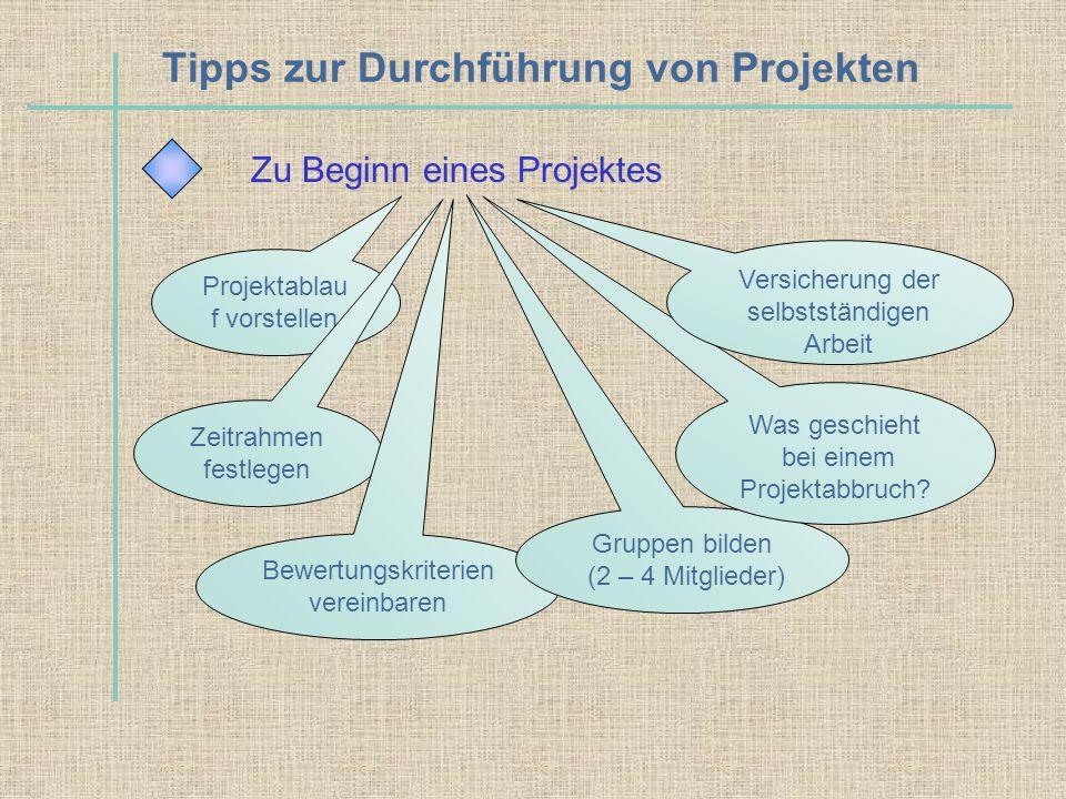Tipps zur Durchführung von Projekten Zu Beginn eines Projektes Projektablau f vorstellen Zeitrahmen festlegen Bewertungskriterien vereinbaren Gruppen