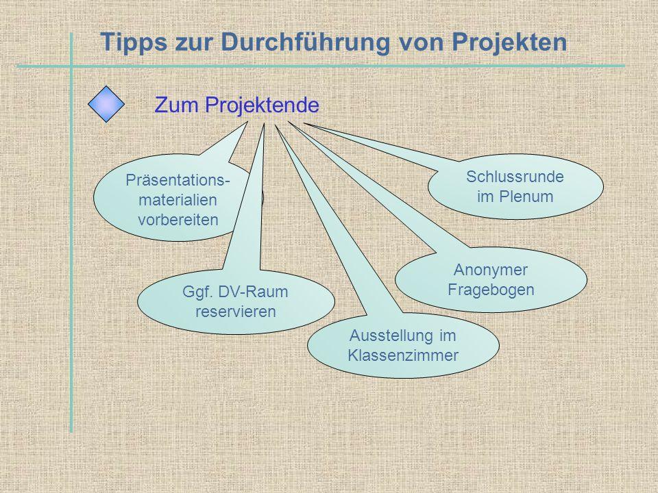 Tipps zur Durchführung von Projekten Zum Projektende Präsentations- materialien vorbereiten Schlussrunde im Plenum Ggf. DV-Raum reservieren Anonymer F