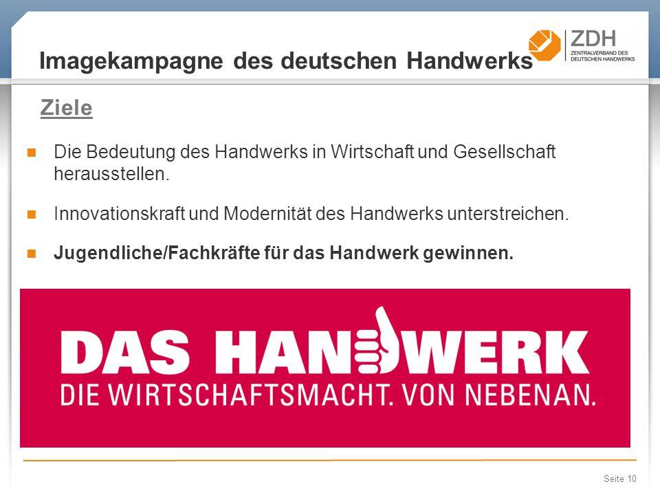 Seite 10 Imagekampagne des deutschen Handwerks Die Bedeutung des Handwerks in Wirtschaft und Gesellschaft herausstellen Ziele Die Bedeutung des Handwerks in Wirtschaft und Gesellschaft herausstellen.