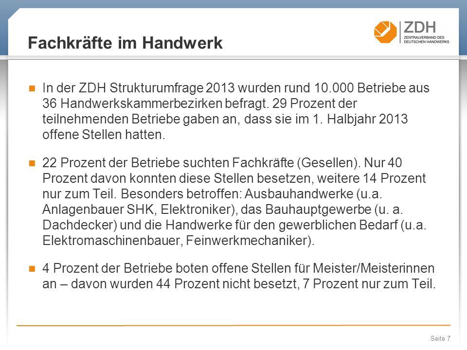 Seite 7 Fachkräfte im Handwerk In der ZDH Strukturumfrage 2013 wurden rund 10.000 Betriebe aus 36 Handwerkskammerbezirken befragt.